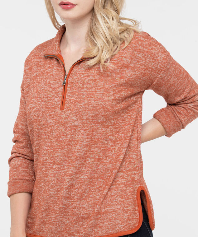 Cozy Mock Neck Pullover Top, Pumpkin, hi-res
