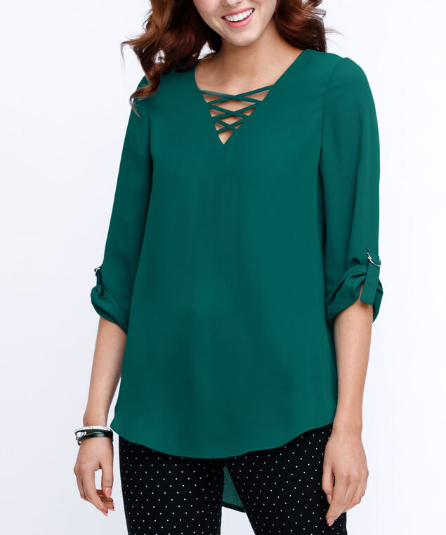 a2acc49824aaf ... Cross Front Roll Sleeve Blouse