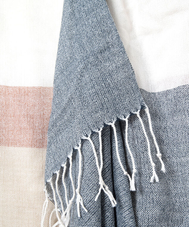 Fringe Tipped Colourblock Oblong Scarf, Almond/Summer Navy/Dusty Blush, hi-res