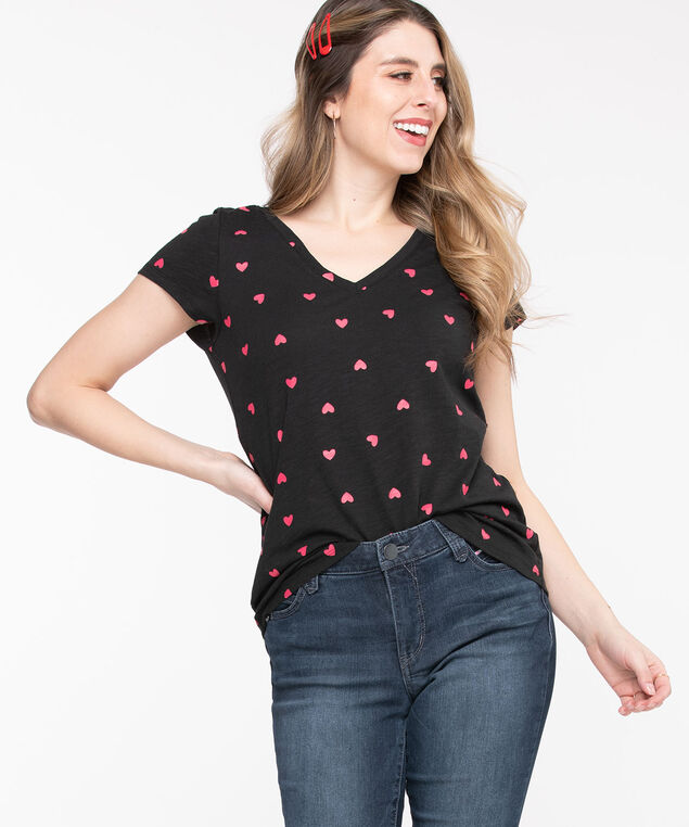 V-Neck Graphic Tee, Black/Red Hearts