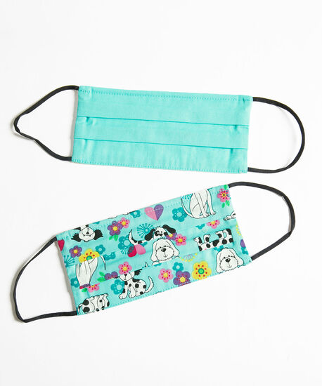 Printed Face Mask 2-Pack, Blue/Blue Puppies, hi-res