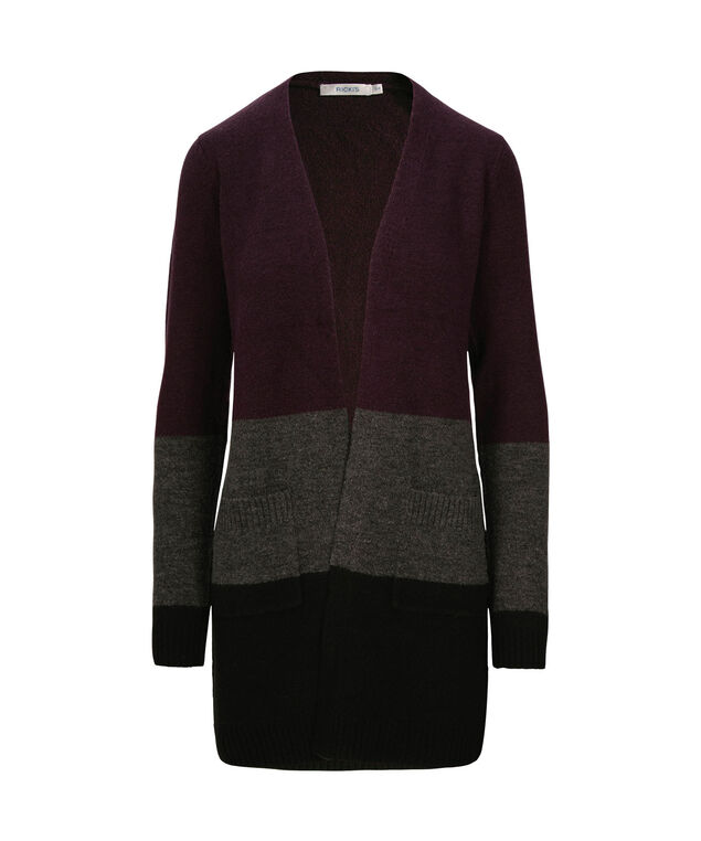 Plush Wide Striped Open Cardigan, Blackberry/Charcoal/Black, hi-res