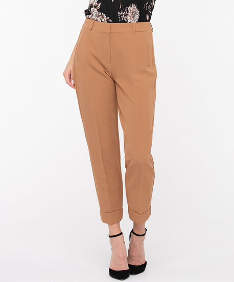 Slim Cuffed Ankle Pant, Camel, hi-res