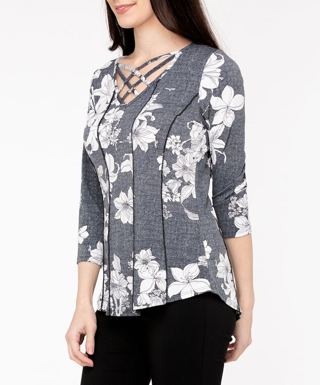 Criss Cross Seamed Peplum Top, Black/Pearl/Orchid, hi-res