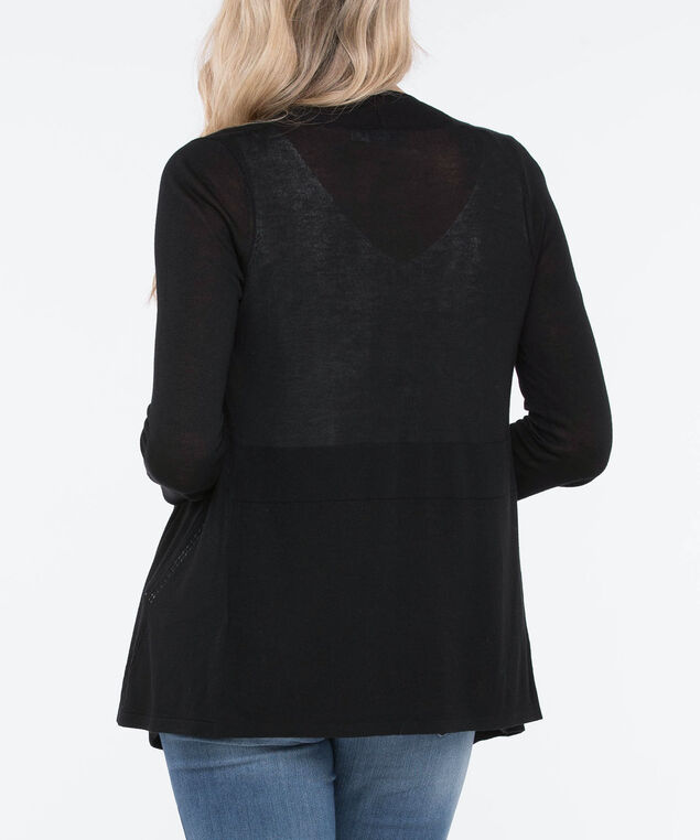 Drape Front Pointelle Open Cardigan, Black, hi-res