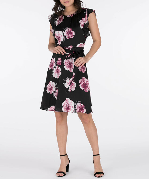 240fef820973 ... Floral Print Tulip Sleeve Dress, Black/Sangria/Pink, hi-res