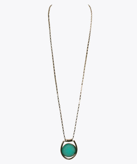 Natural Stone Pendant Necklace, Light Aqua/Soft Gold, hi-res