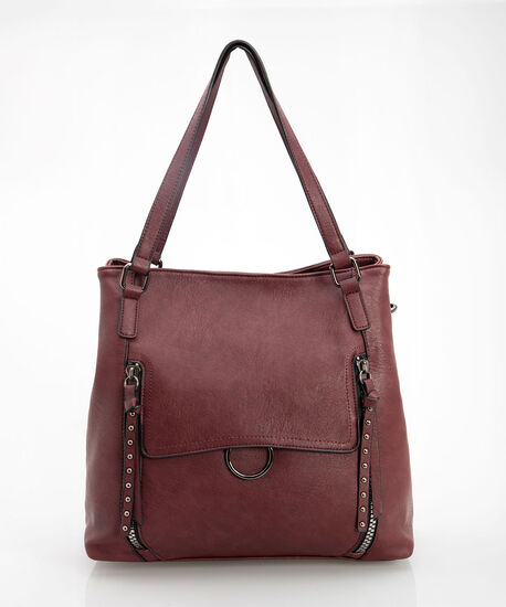 RIVET SLOUCHY HANDBAG, Burgundy/Rhodium, hi-res