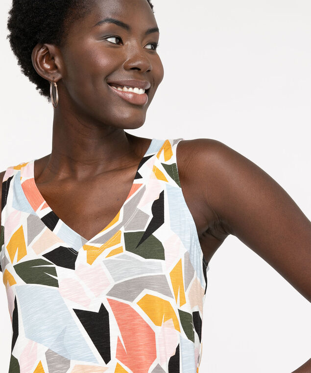 Sleeveless V-Neck Swing Top, Snow White Abstract
