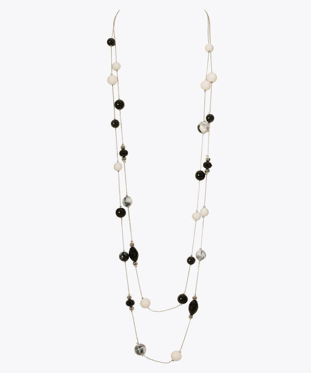Stationed Black & White Necklace, Black/White, hi-res