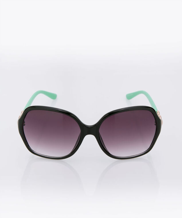 Oversized Square Frame Sunglasses, Black/Aqua, hi-res