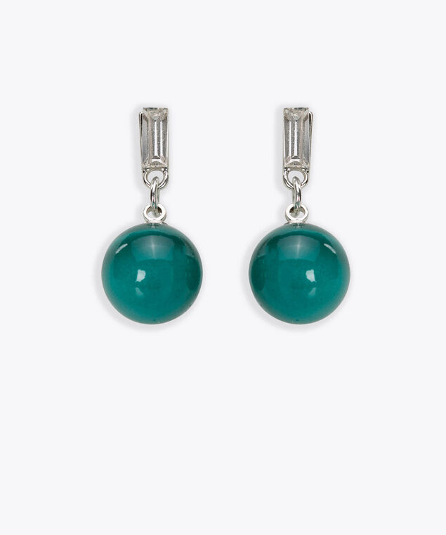 Cateye & Crystal Drop Earring, Midnight Teal/Rhodium, hi-res