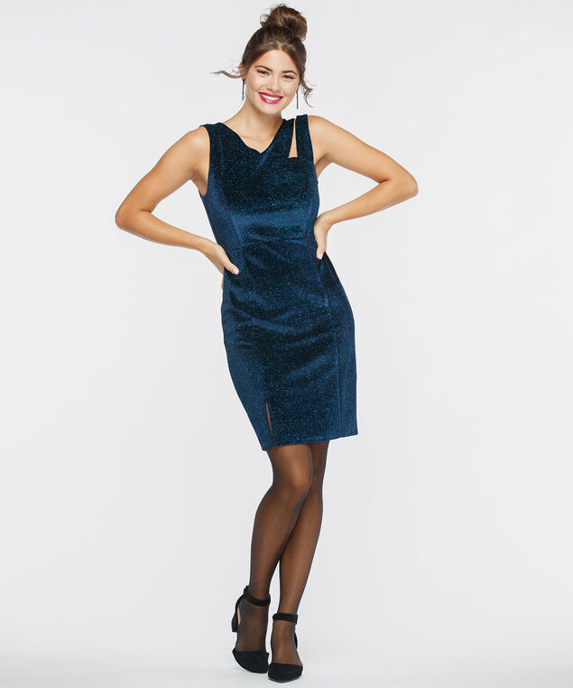 Sleeveless Cross Neck Velvet Shimmer Dress, Glitz Blue, hi-res
