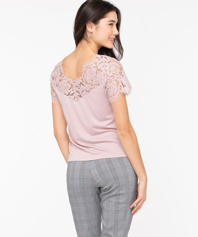 Lace Trim Double-V Top, Misty Rose, hi-res