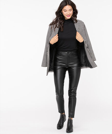 Faux Leather Button Front Skinny Leg, Black, hi-res