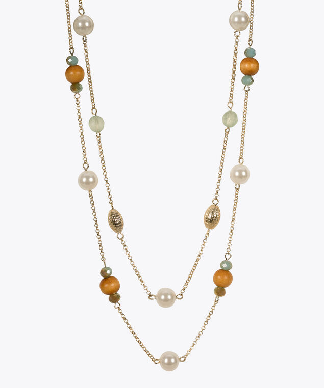 Stationed Bead & Pearl Necklace, Aqua/Pearl/Soft Gold, hi-res
