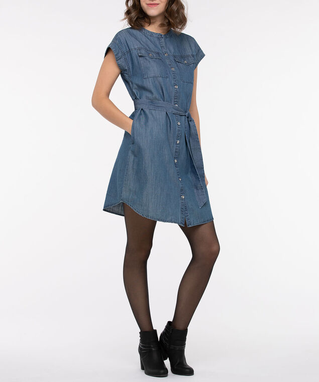 Tie Waist Tencel Denim Dress, Light Wash, hi-res