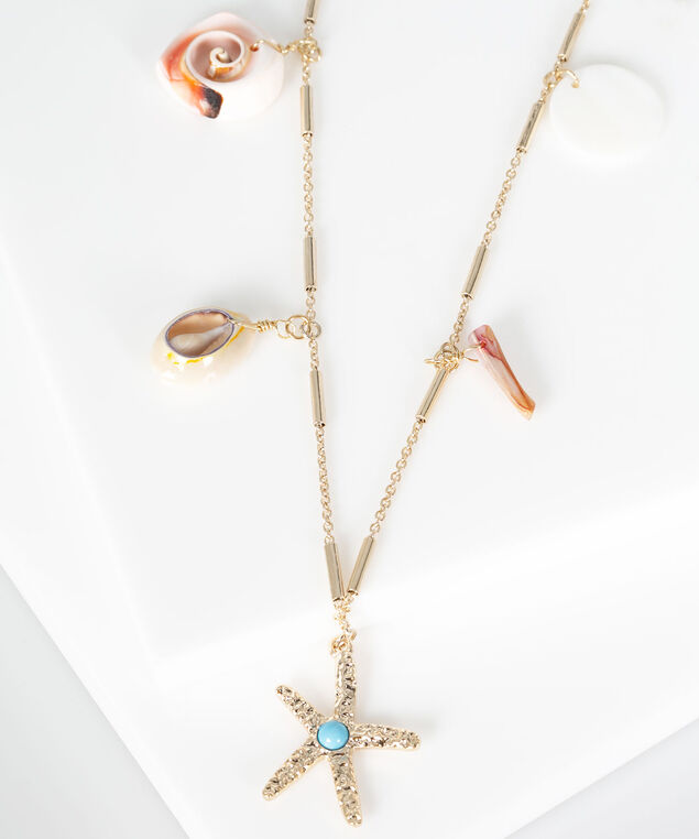 Beachy Stationed Charm Necklace, Gold/Hibiscus/Pale Blue, hi-res