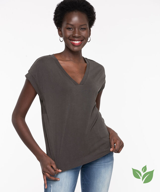 Eco-Friendly Extended Sleeve Top, Charcoal
