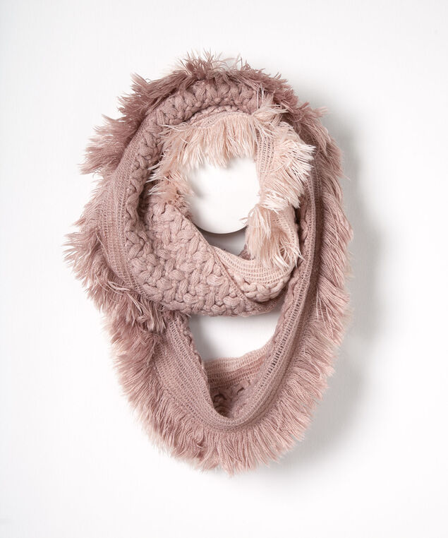 Ombre Cable Knit Eternity Scarf, Dusty Blush, hi-res