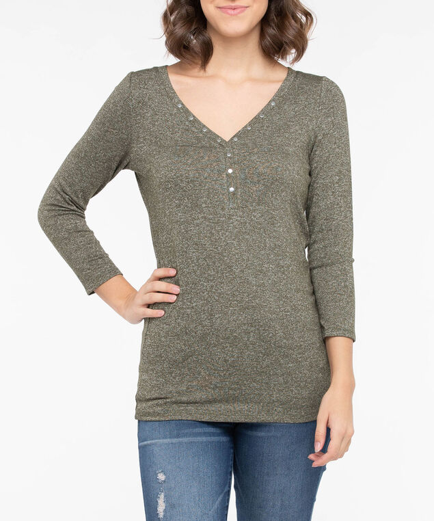 Studded Henley Knit Top, Autumn Olive, hi-res