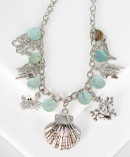 Stationed Nautical Charm Necklace, Rhodium/Pale Blue, hi-res