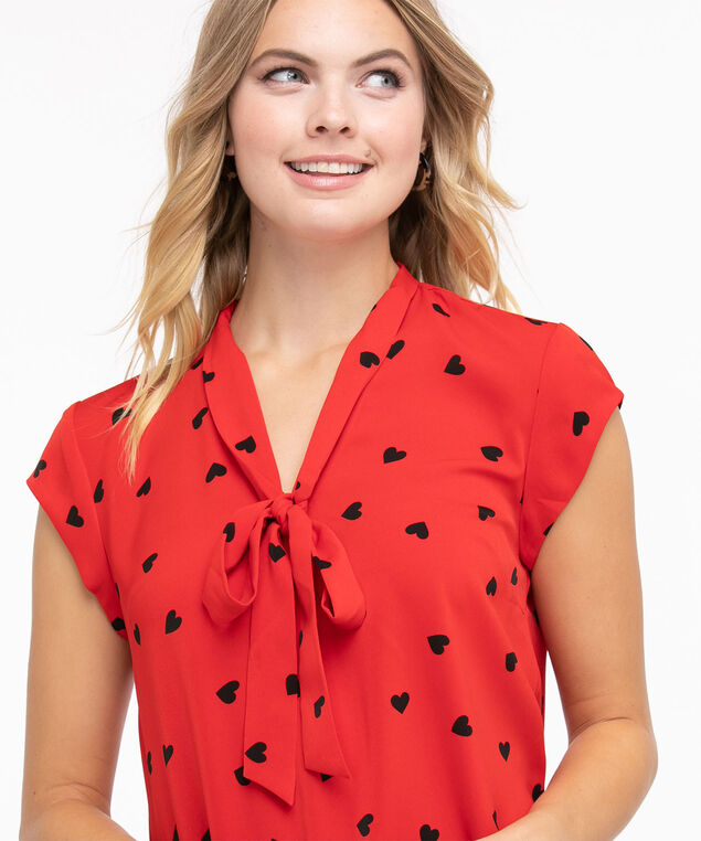 Cap Sleeve Tie Neck Blouse, Red/Black Hearts