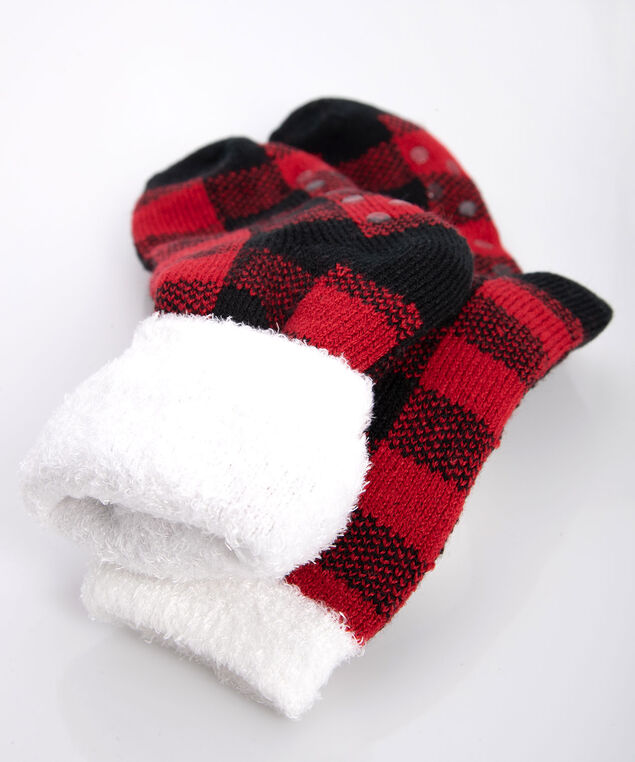 Buffalo Check Double Faced Sock, Pearl/Black/Crimson, hi-res