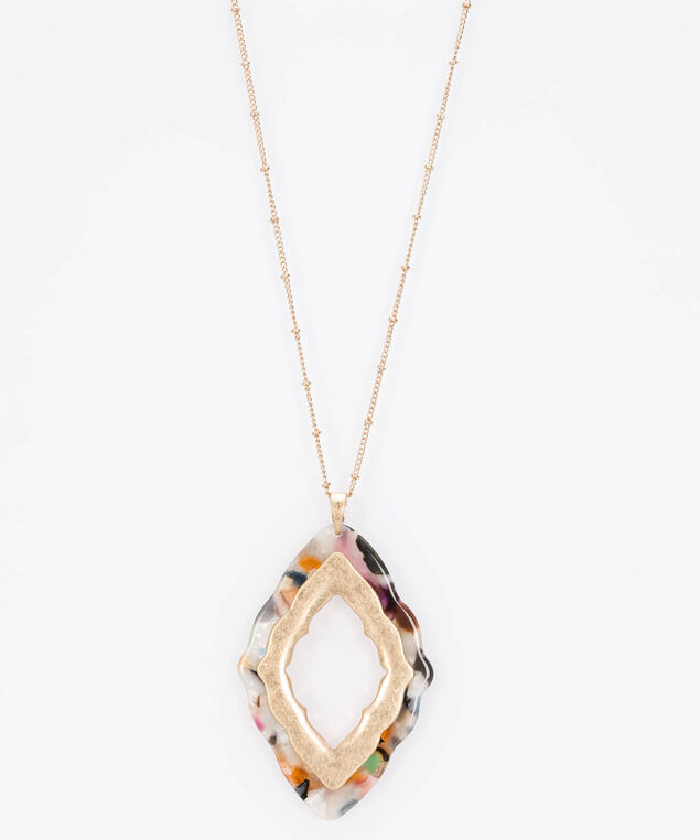 Resin Cutout Pendant Necklace, Gold/Pearl/Rust, hi-res