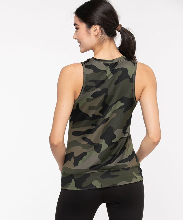 Sleeveless Twist Front Activewear Top, Olive Camo