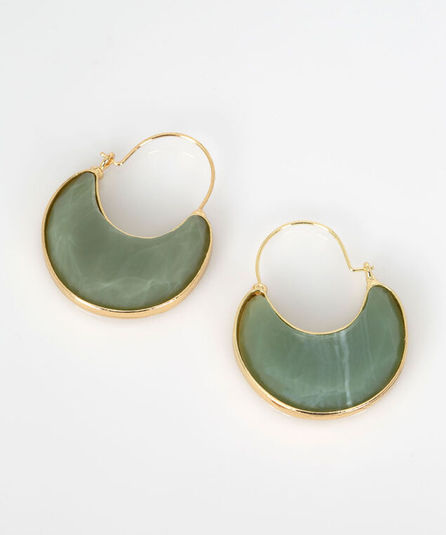 Faceted Stone Hoop Earring, Jade/Gold, hi-res