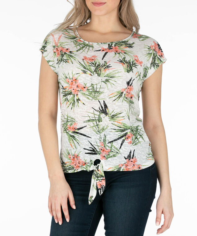 Tropical Burnout Tie-Front Tee, Peach/Green, hi-res