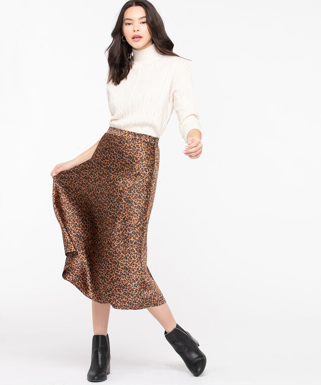Leopard Print Midi Skirt, Black/Brown
