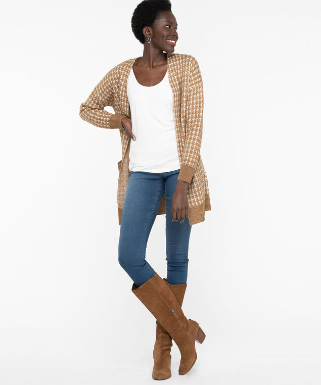 Houndstooth Long Open Cardigan, Burro/Pearl