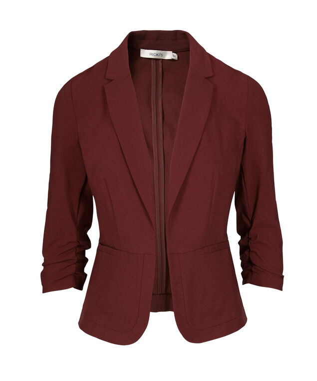 Ruched Sleeve Blazer, Cranberry, hi-res
