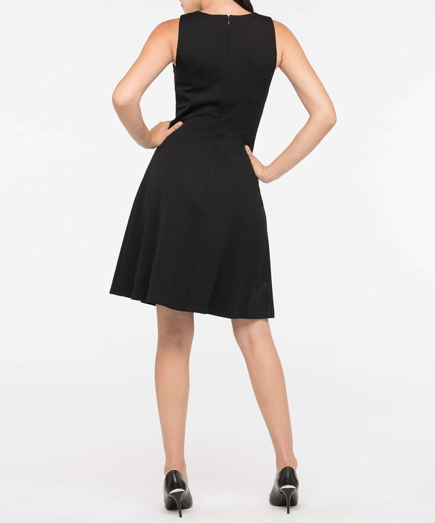 Sleeveless Colourblock Ponte Dress, Black/Burgundy, hi-res