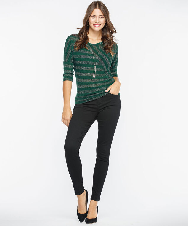 Metallic Striped Lightweight Knit Top, Deep Green, hi-res