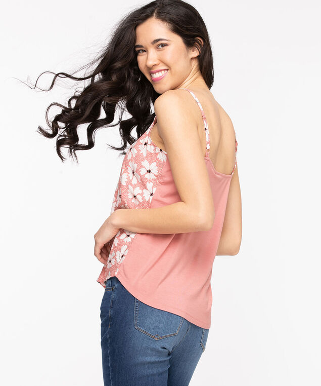 Strappy Patterned Cami, Rosette