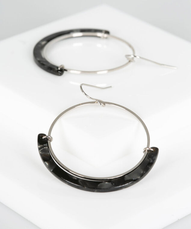 Resin Hoop Drop Earring, Grey/Rhodium, hi-res