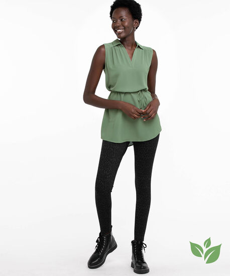 Eco-Friendly Sleeveless Belted Tunic Blouse, Laurel Wreath, hi-res