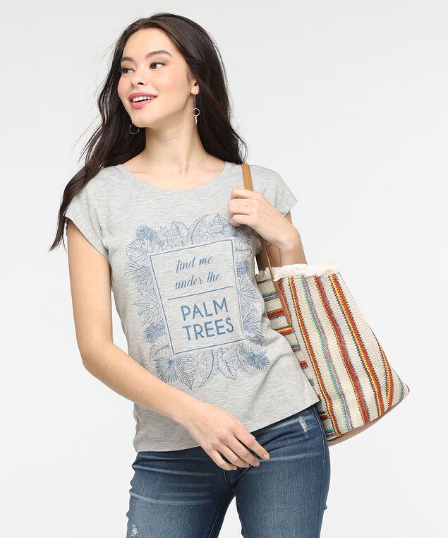 Palm Tree Extended Sleeve Tee, Light Heather Grey/Pale Blue, hi-res