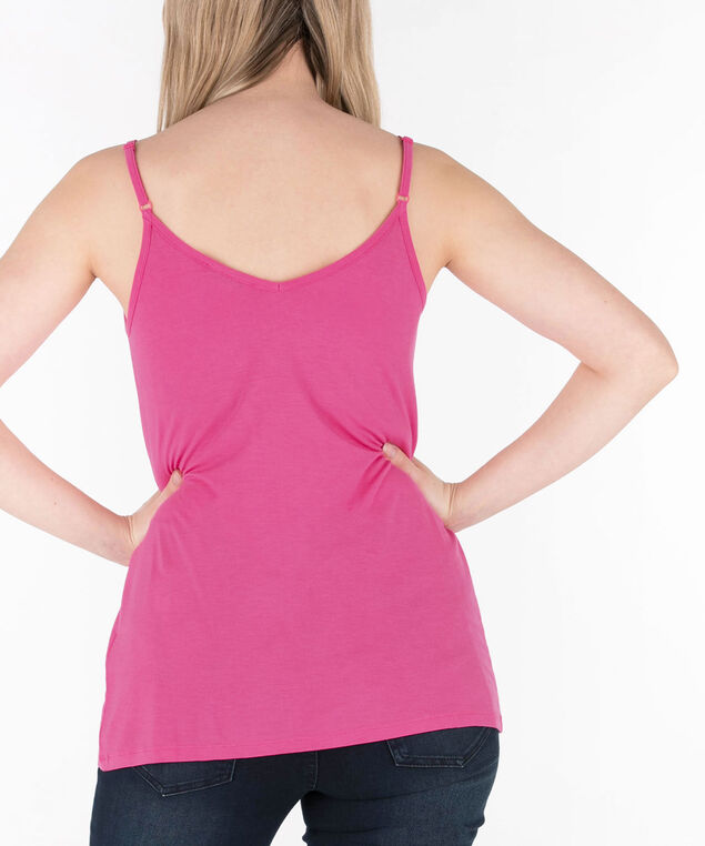 Strappy Flowy V-Neck Cami, Bright Pink, hi-res