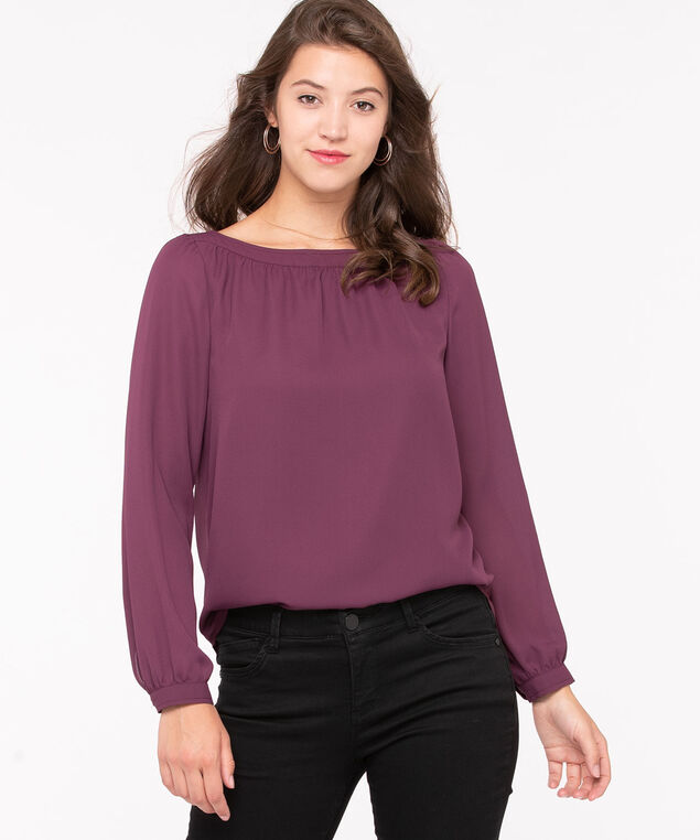 Long Sleeve Boat Neck Blouse, Purple, hi-res