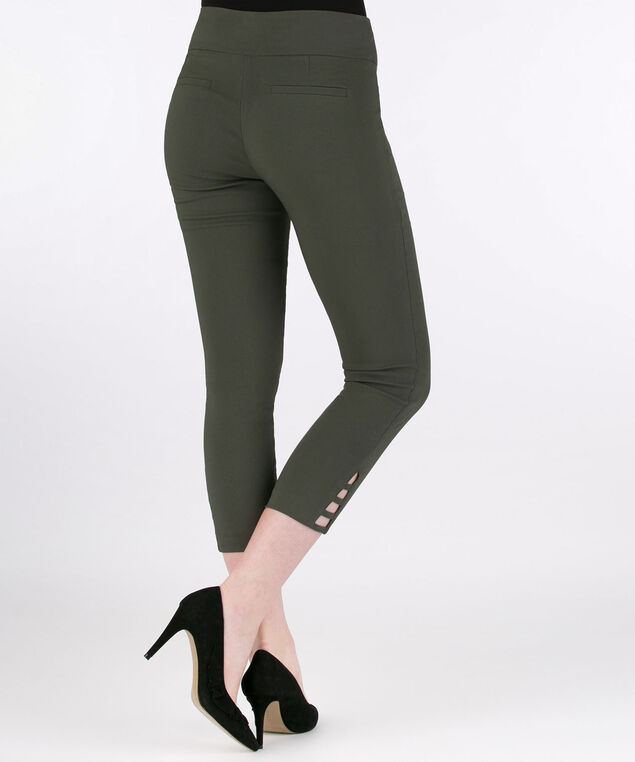 Ladder-Trim Microtwill Crop Pant, Olive, hi-res