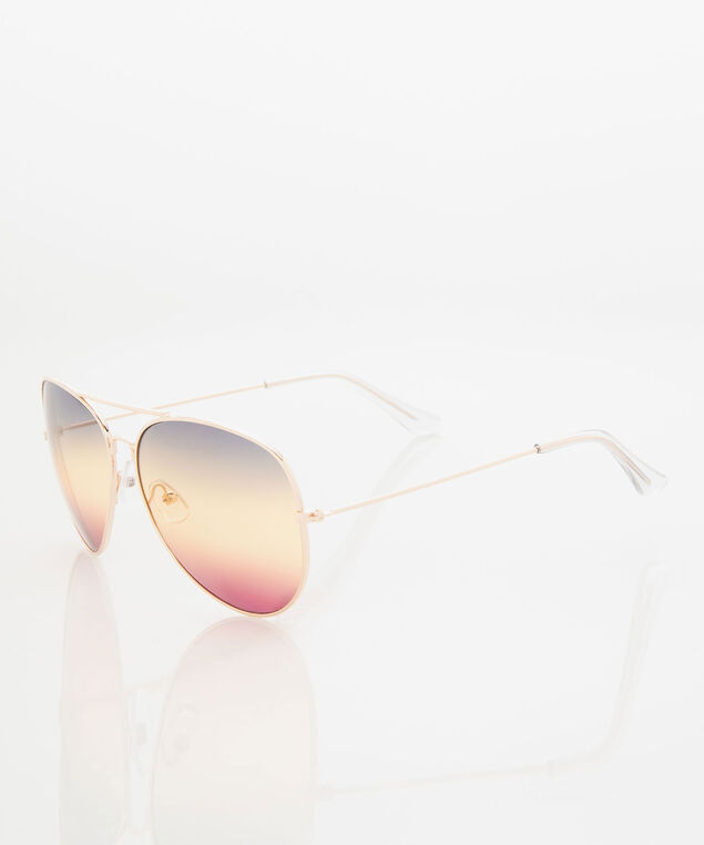 Rainbow Ombre Aviator Sunglasses, Gold, hi-res