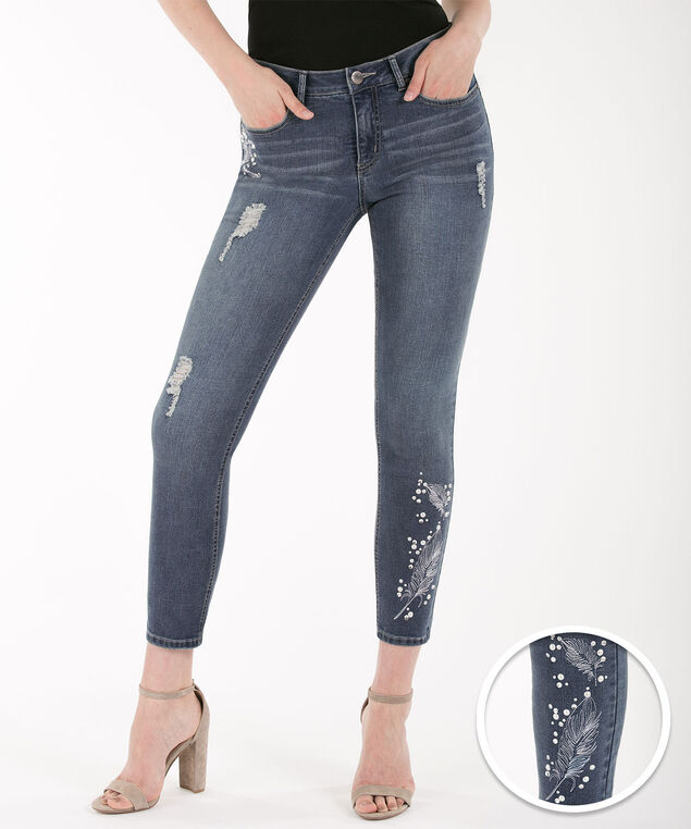 Feather Embellished Distressed Ankle Jean, Mid Wash, hi-res