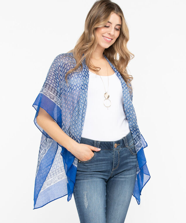 Geo Print Ruana, Azure/True White/Summer Navy, hi-res