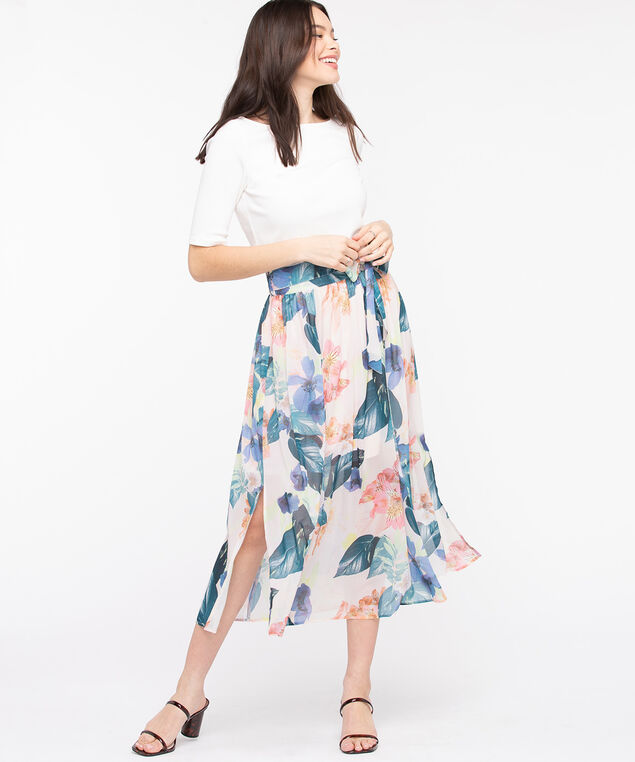 Gathered Tie Waist Midi Skirt, Pearl/Pink/Teal/Blue, hi-res