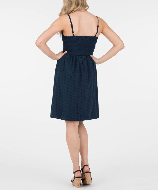 Strappy Eyelet Bodice Dress, Summer Navy, hi-res
