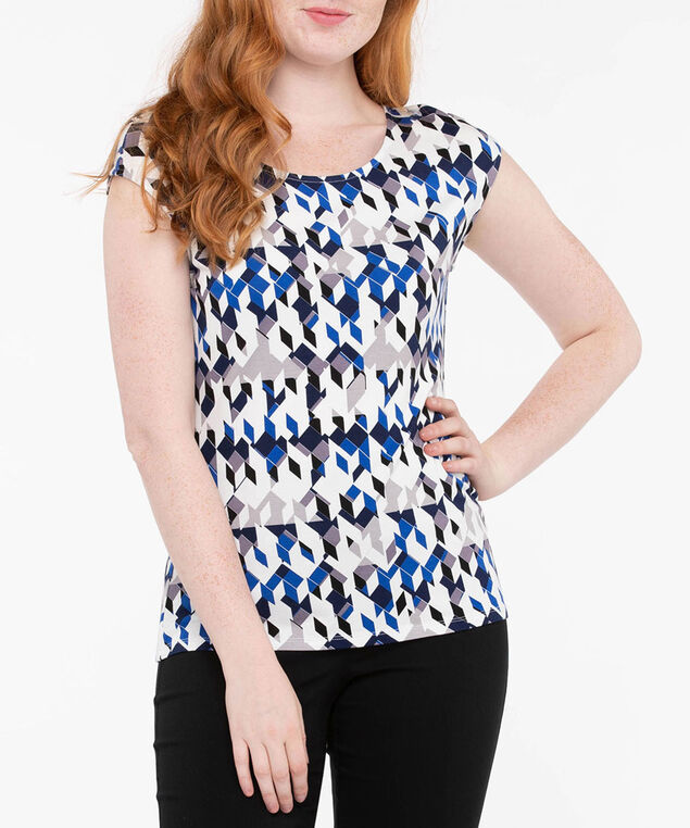 Extended Sleeve Scoop Neck Top, Cobalt/Black/Pearl, hi-res